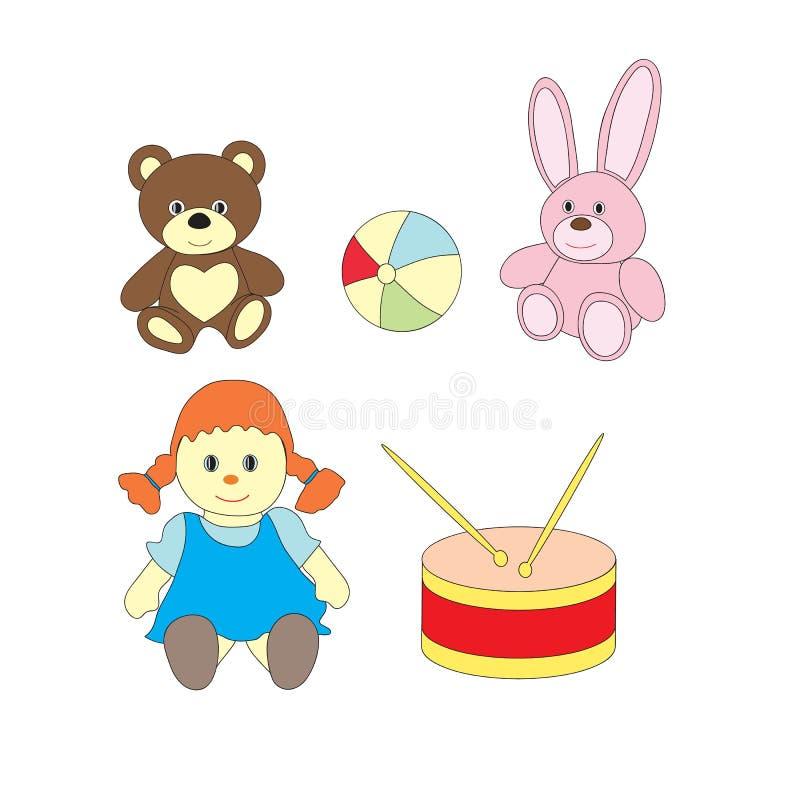 En uppsättning av leksaker för flickor En vektorbild med en boll, en docka, en björn, en vals, en hare royaltyfri illustrationer