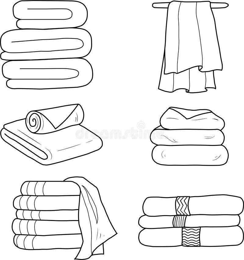 En uppsättning av linjära handdukar för vektor stock illustrationer