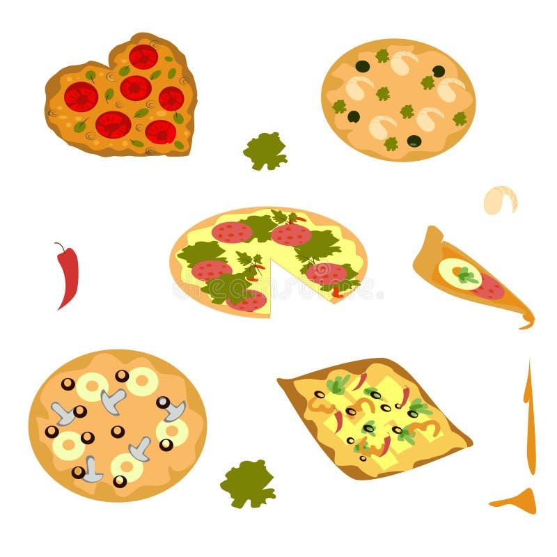 en uppsättning av ljusa bilder för pizza för menyn stock illustrationer