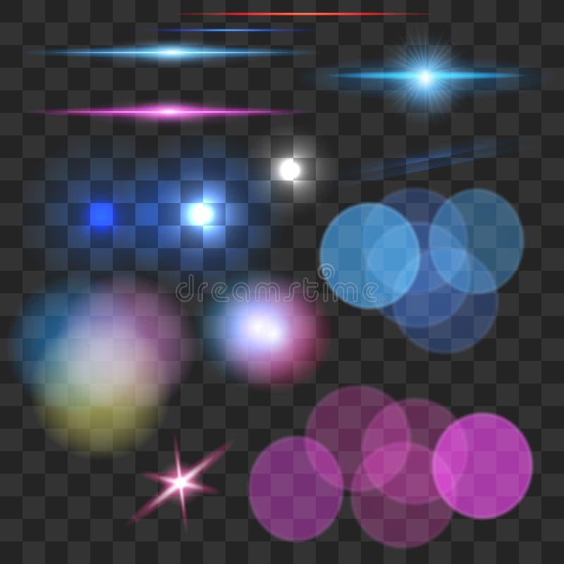 En uppsättning av ljusa effekter, den optiska signalljuset, bokeh, mousserar vektor illustrationer