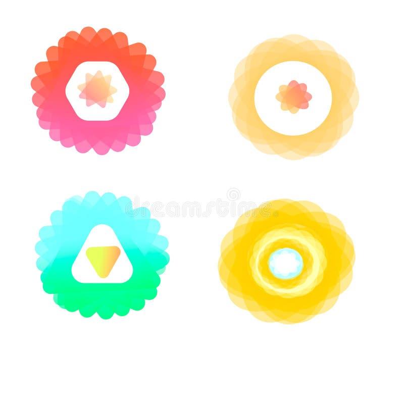en uppsättning av ljusa färger av deras logo som flyger volymtecken stock illustrationer