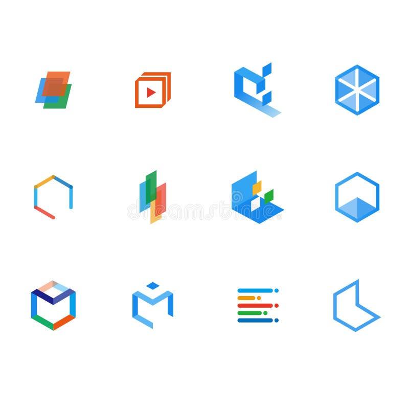 En uppsättning av logoen för att lära, resurser och att undervisa stock illustrationer
