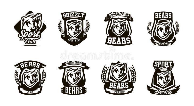 En uppsättning av logoer, emblem, en brumma björn royaltyfri illustrationer