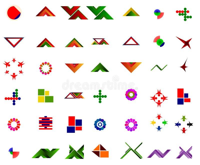 En uppsättning av 42 logoer och symboler vektor illustrationer