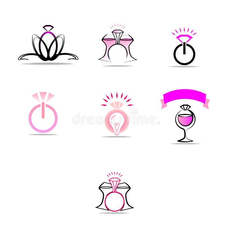 En uppsättning av logoer på temat av ett bröllopparti, ett ungmöparti royaltyfri illustrationer