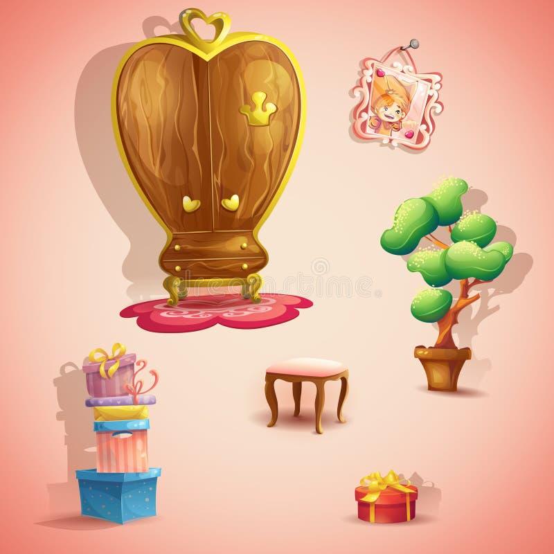 En uppsättning av möblemang och objekt för dockaprinsessasovrummet stock illustrationer
