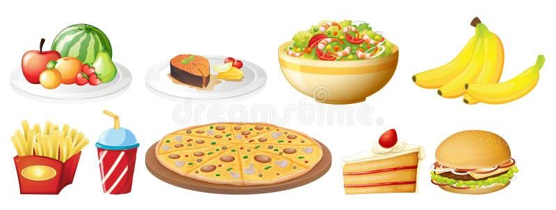 En uppsättning av mat på vit bakgrund stock illustrationer