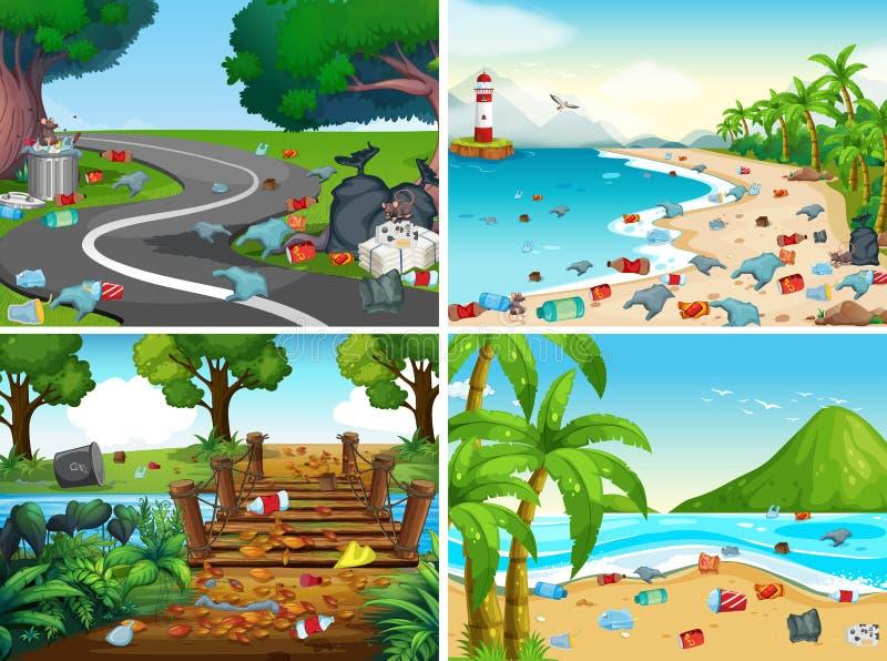 En uppsättning av miljöbelastning stock illustrationer