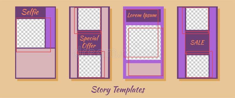 En uppsättning av minimalist berättelser för sociala nätverk Ram Packe som skapar ditt unika innehåll Mallar för berättelser stock illustrationer