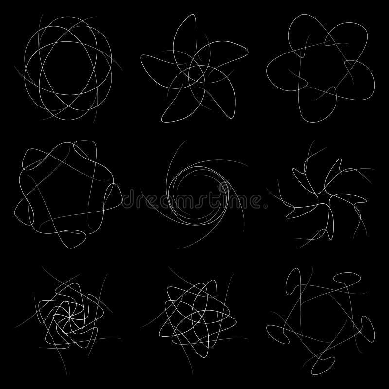En uppsättning av modeller på en svart bakgrund vektor illustrationer