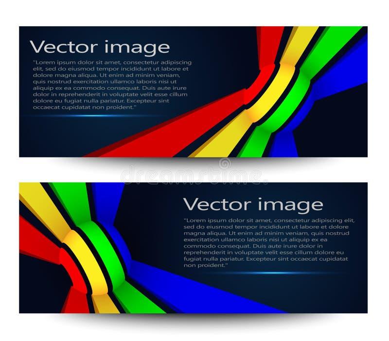 En uppsättning av moderna ljusa baner också vektor för coreldrawillustration arkivbilder