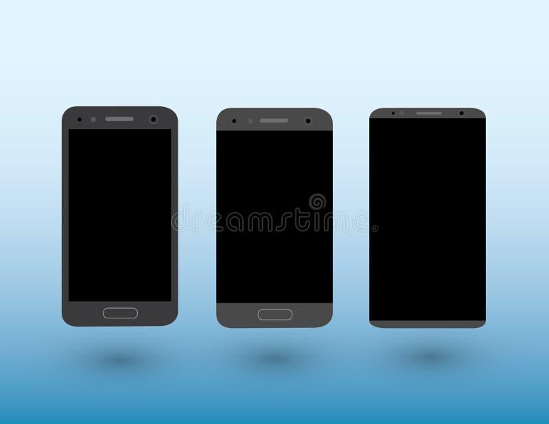 En uppsättning av moderna pekskärmsmartphones för svart färg på ljust - blå bakgrund med skuggavektorillustrationen royaltyfri illustrationer