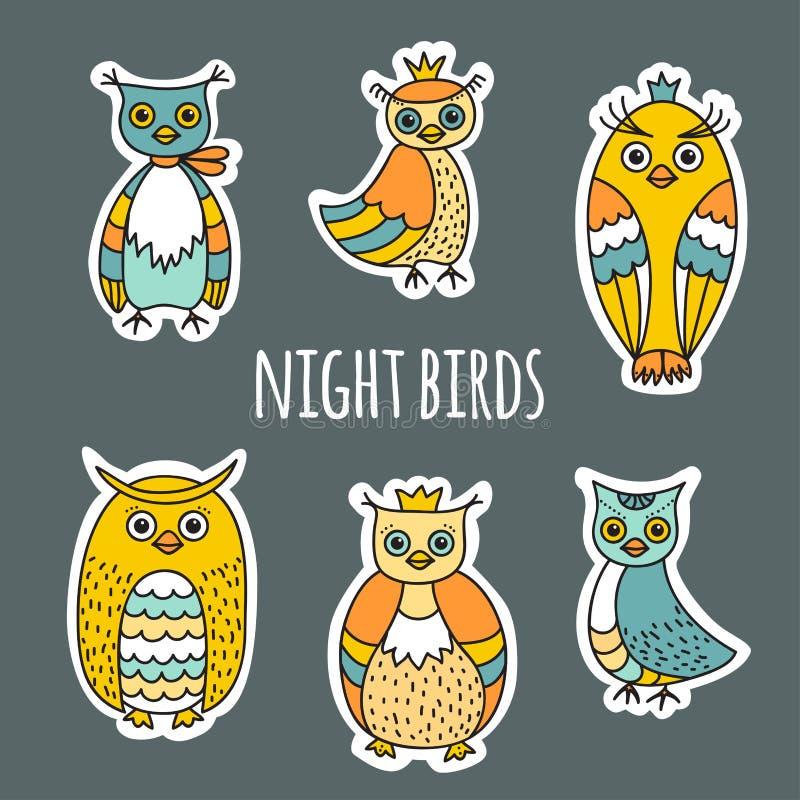 En uppsättning av nattfåglar royaltyfri illustrationer