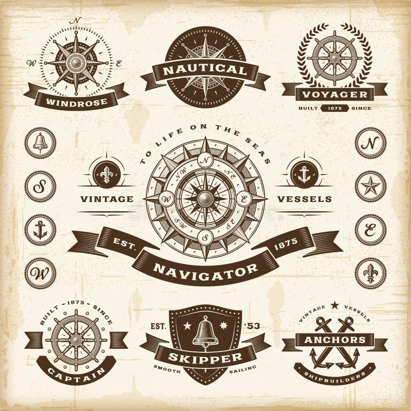 Fastställda nautiska etiketter för tappning royaltyfri illustrationer