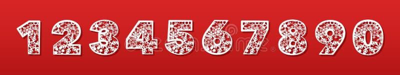 En uppsättning av nummer för laser-klipp av papper, papp, plast- Trendigt dekorativt alfabet konturklipp stock illustrationer