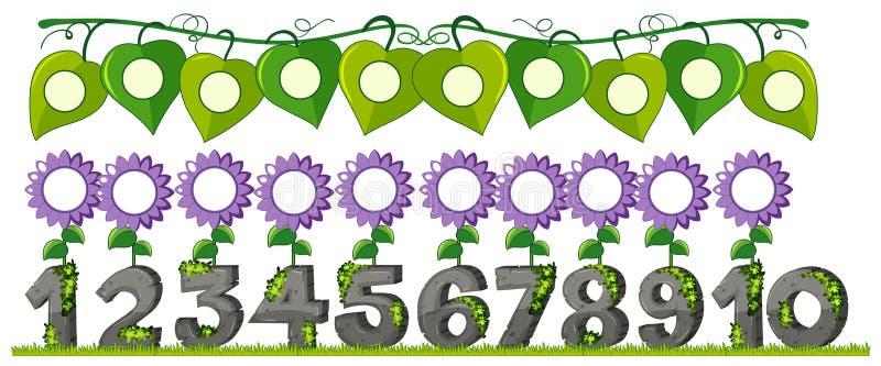 En uppsättning av numret med blomman stock illustrationer