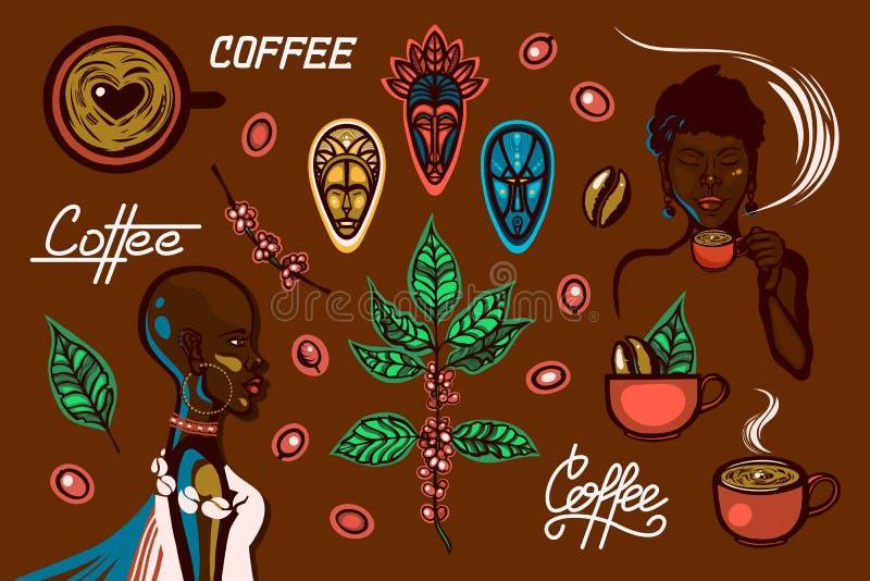 En uppsättning av objekt på ett kaffetema i Etiopien Kvinnor kaffekoppar, kaffe förgrena sig, kaffebönor, bär, traditionella mask royaltyfri illustrationer