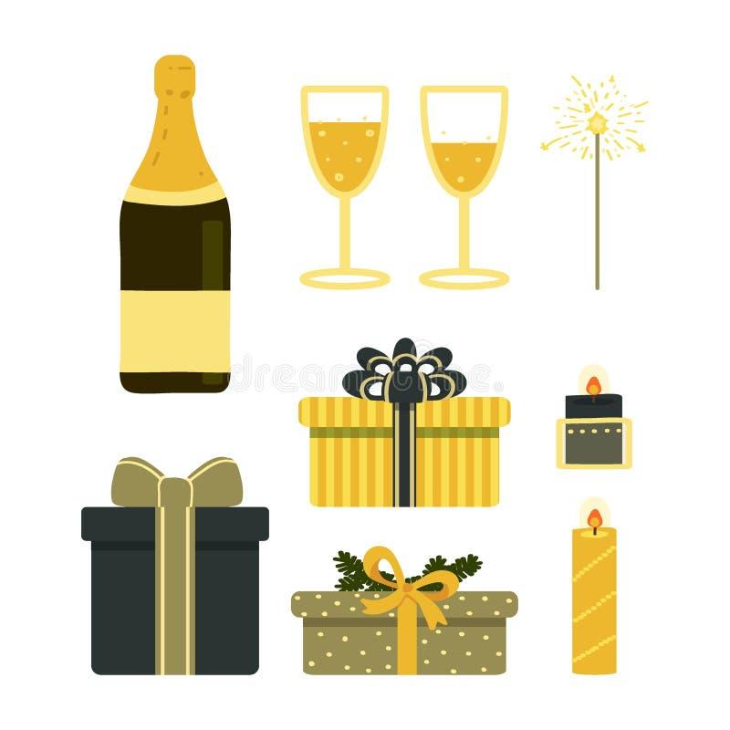En uppsättning av objekt som firar jul, nytt år, födelsedag Best?ndsdelar som isoleras p? vit bakgrund Vektorillustration i vektor illustrationer