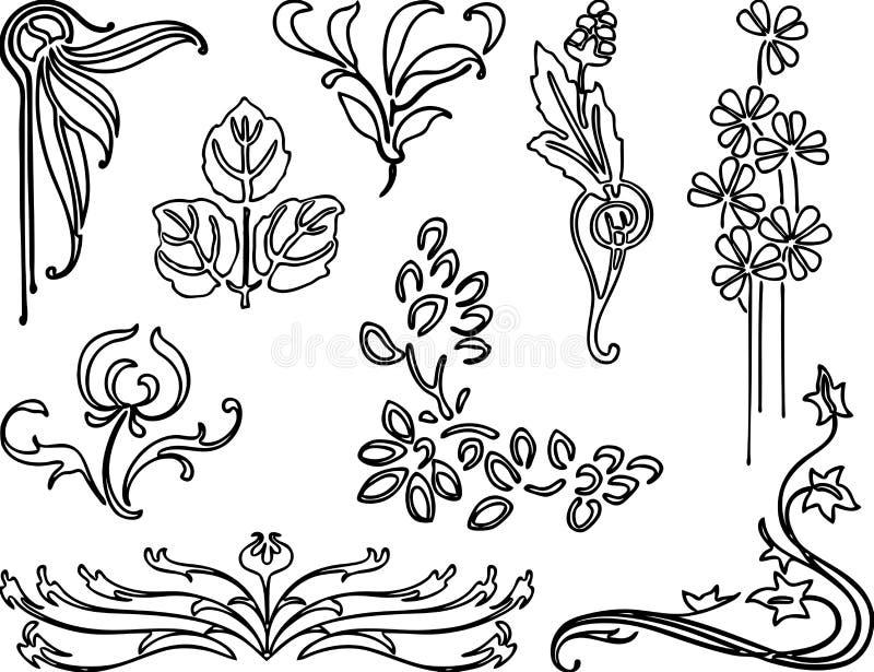 En uppsättning av olika blom- beståndsdelar stock illustrationer