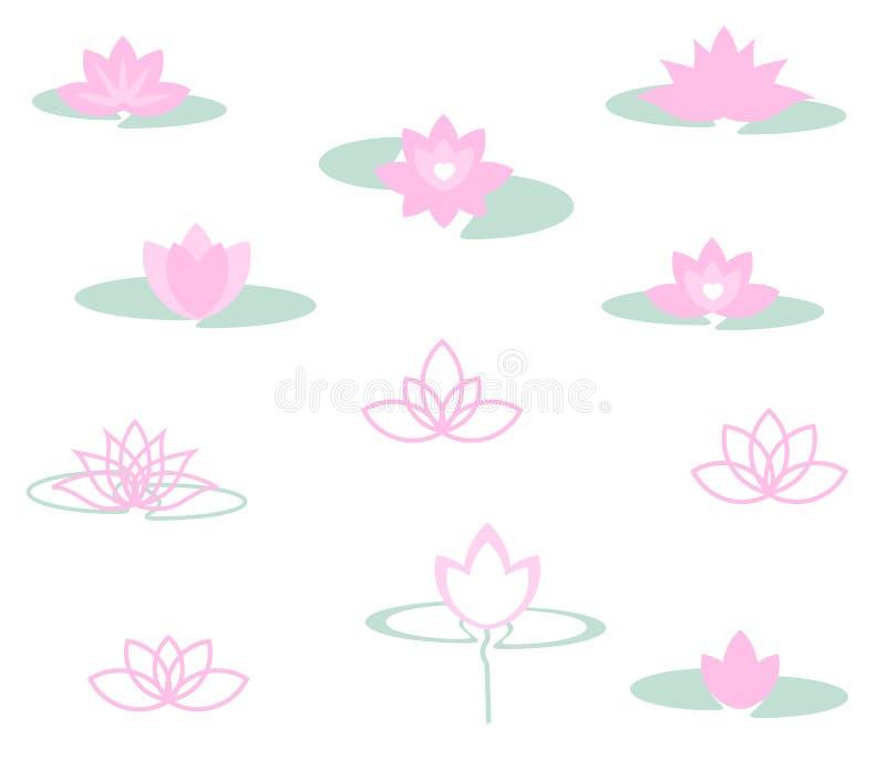 En uppsättning av olika lotusblommor royaltyfri illustrationer