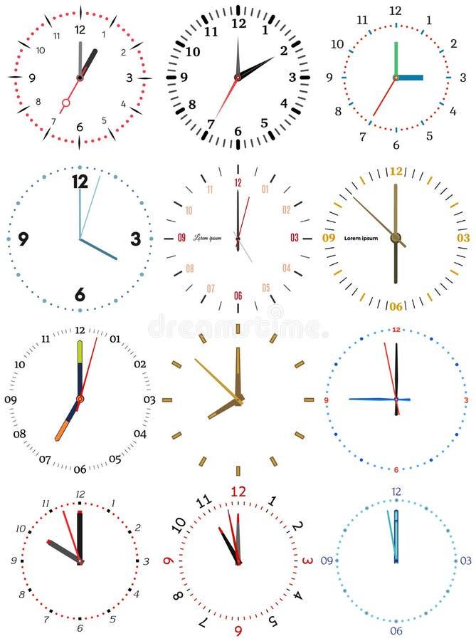 En uppsättning av olika mekaniska klockor med en bild av varje av de tolv timmarna vektor illustrationer