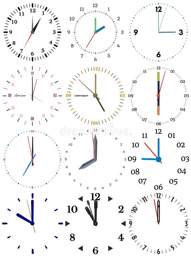 En uppsättning av olika mekaniska klockor med en bild av varje av de tolv timmarna stock illustrationer