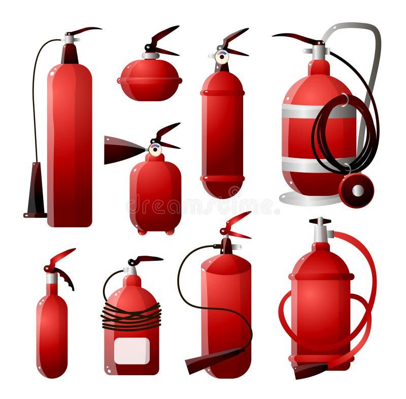En uppsättning av olika typer av brandsläckare i röda och olika former man som kontrollerar brandeldsl?ckaren vektor illustrationer