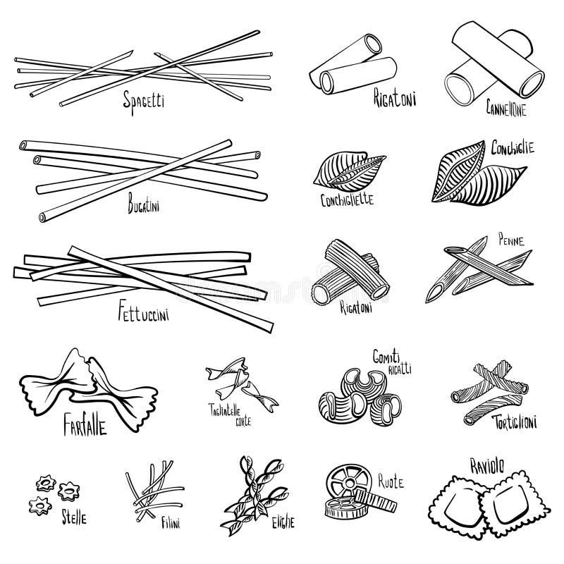 En uppsättning av olika typer av pasta stock illustrationer