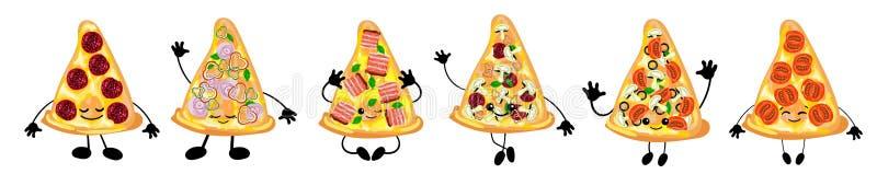 En uppsättning av olika variationer av italiensk pizza är ett gulligt tecken med en framsida För ditt företag pizzeria, restauran vektor illustrationer