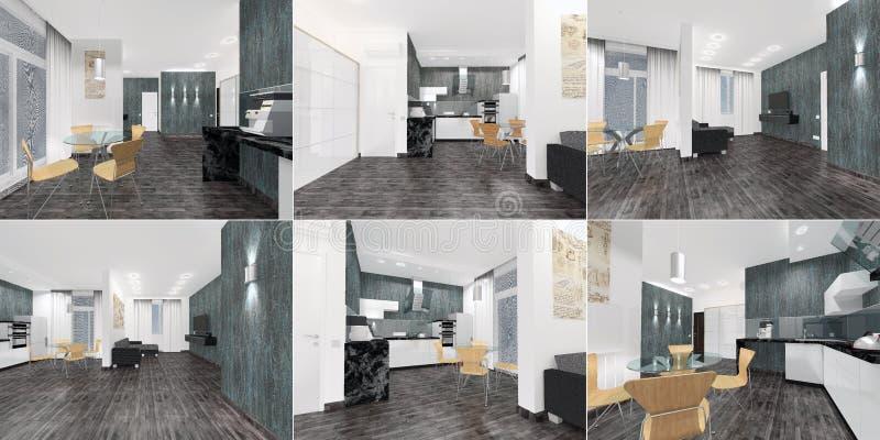 En uppsättning av perspektiv - en inre av en lägenhet - en studio i att kontrastera och modern design 3d royaltyfri illustrationer