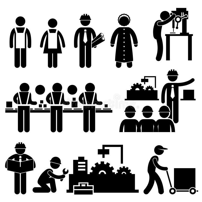 Pictogram för arbete för chef för fabriksarbetare stock illustrationer