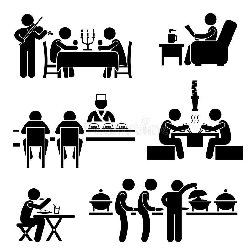 Pictogram för drink för restaurangCafemat vektor illustrationer