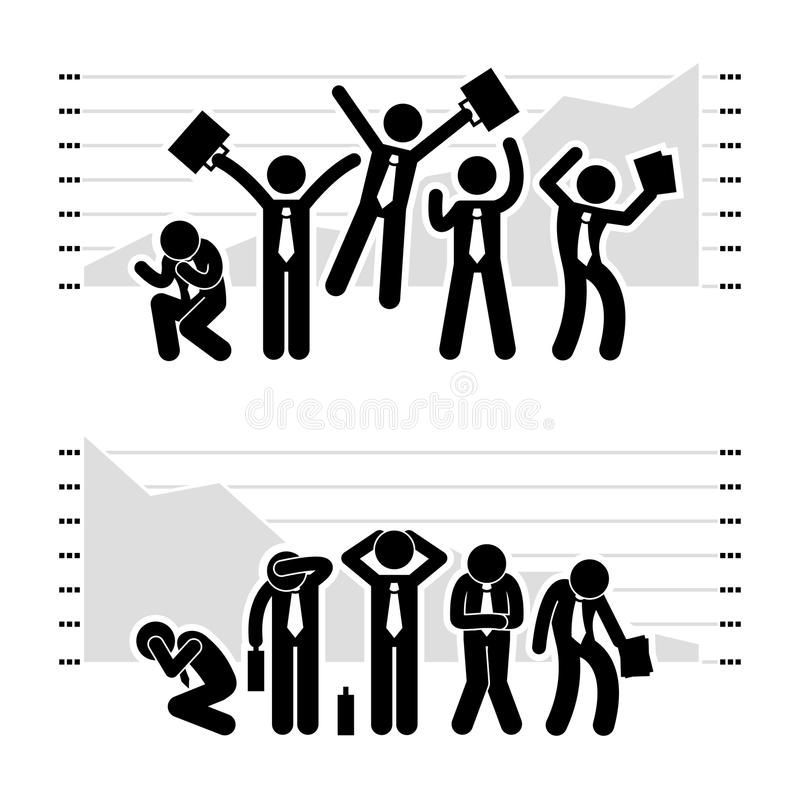 Segra förlorande grafPictogram för affärsman royaltyfri illustrationer