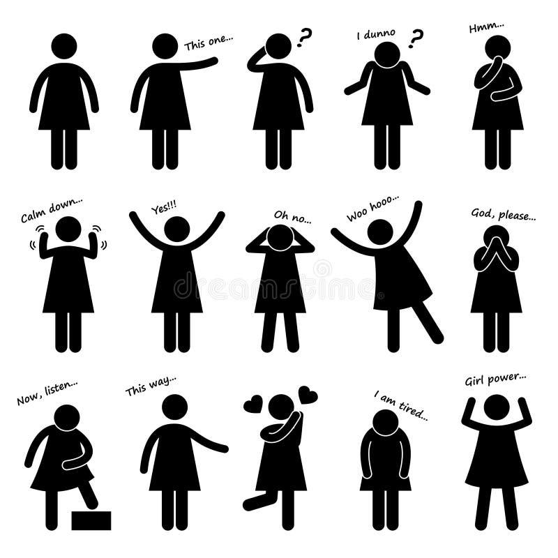 Kvinnafolket göra sig till kroppsspråkpictogramen royaltyfri illustrationer