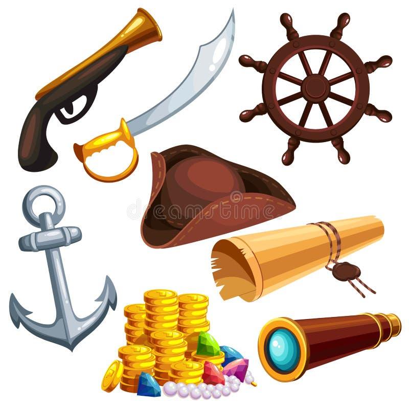 En uppsättning av piratkopierar saker royaltyfri illustrationer