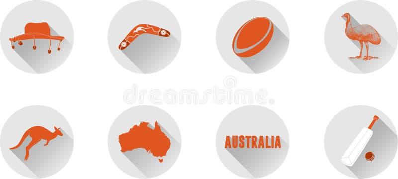En uppsättning av plana symboler av Australien royaltyfria bilder