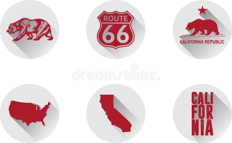 En uppsättning av plana symboler av Kalifornien arkivfoto