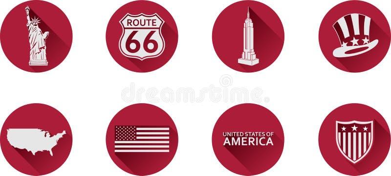 En uppsättning av plana symboler av USA royaltyfria bilder