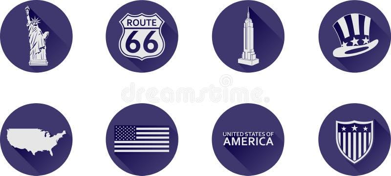 En uppsättning av plana symboler av USA royaltyfri foto