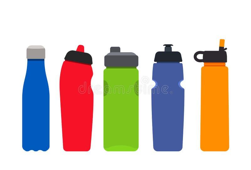 En uppsättning av plast- kulöra flaskor för sportar och kondition Konturer av aquamineralvattenbehållare Plan vektorillustration stock illustrationer