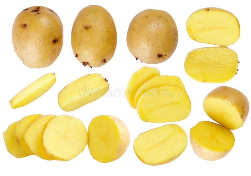 En uppsättning av potatisar praktiska grönsaker addle bakgrund isolerad white planlägg ditt royaltyfri foto