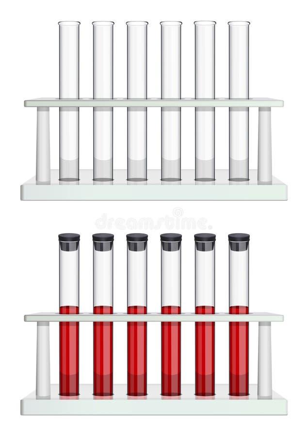 En uppsättning av provrör i kuggar Töm och ge första erfarenhet fyllda rör Special laboratoriumutrustning för medicin, apotek och vektor illustrationer