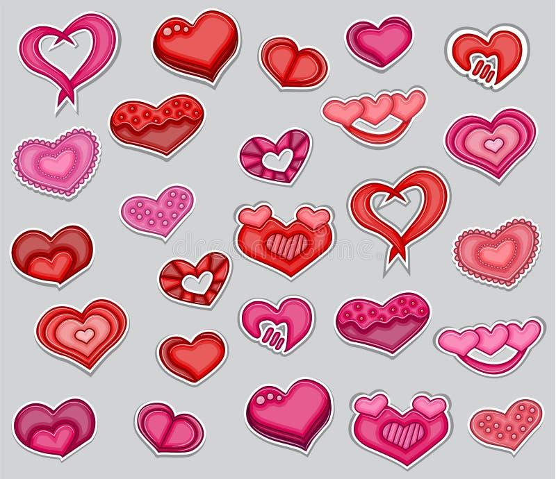 En uppsättning av röda och rosa hjärtor för valentindag tryckbar klistermärkesamling stock illustrationer