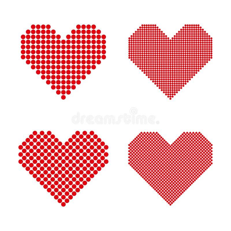 En uppsättning av rastrerade hjärtor stock illustrationer