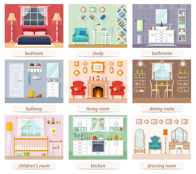 En uppsättning av rum av olika designer och avsikter vektor stock illustrationer