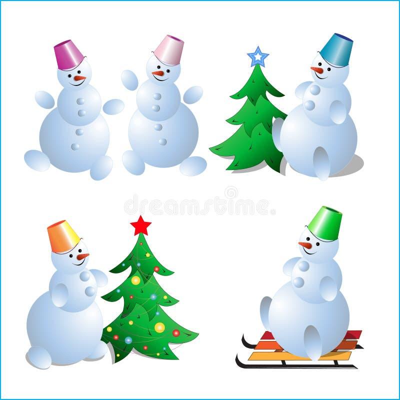 En uppsättning av snögubbear för ett kort för nya år arkivfoto