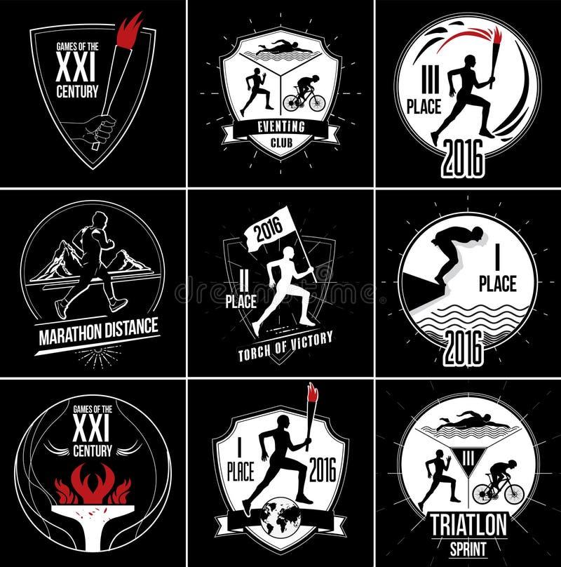 En uppsättning av sportlogoer, emblem och designbeståndsdelar royaltyfri illustrationer