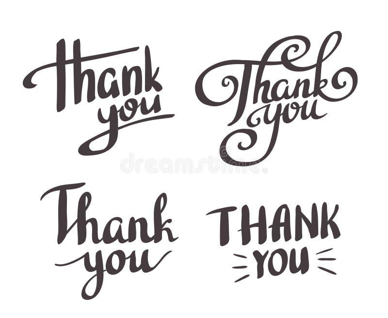 En uppsättning av stil 'tackar dig' att planlägga beståndsdelar stock illustrationer