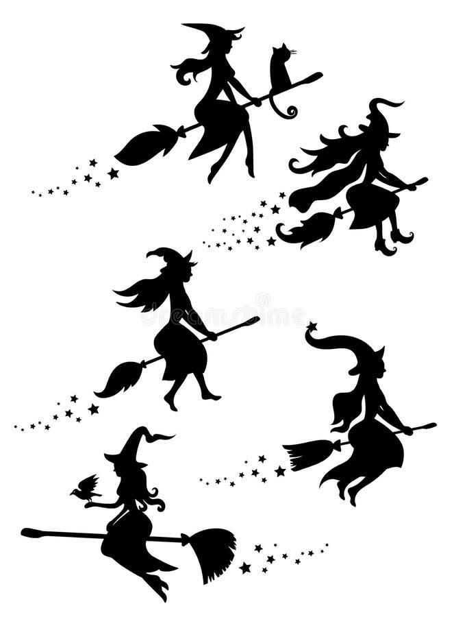 En uppsättning av svarta konturer av häxor som flyger på en kvastskaft En samling av konturer för allhelgonaafton mystiskt stock illustrationer