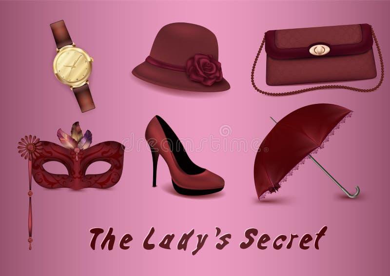 En uppsättning av symboler av kvinnlig tillbehör En klocka, en hatt med en ros, en handväska, en maskering med fjädrar, en häftkl vektor illustrationer